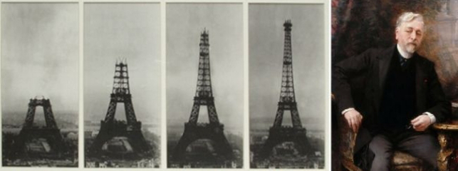 Photo of the construction of the tower and Gustave Eiffel   Hobby Keeper Articles