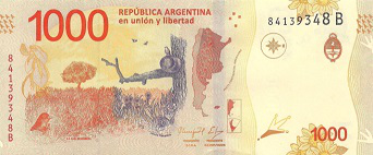 Argentina 1000 Peso banknote, 2017, reverse side | Hobby Keeper Articles