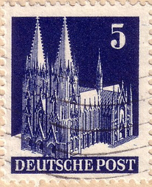 """Postage stamp of 5 pfennings """"Cologne Cathedral"""", 1948, Germany 