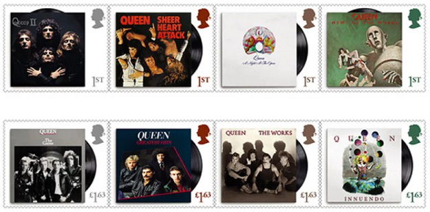 "Postage stamps for the 50th anniversary of the group ""Queen"" Britain 