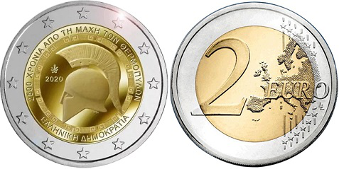"""2 euro coin """"2500 anniversary of the Battle of Thermopylae"""", 2020, Greece 
