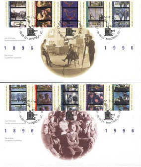 "Postage stamps from the ""100 years of cinema in Canada"" series, 1996, Canada 