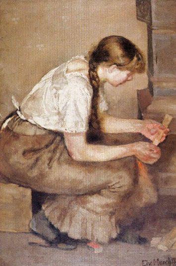 """Painting """"The girl lights the stove"""", 1883, E. Munch 