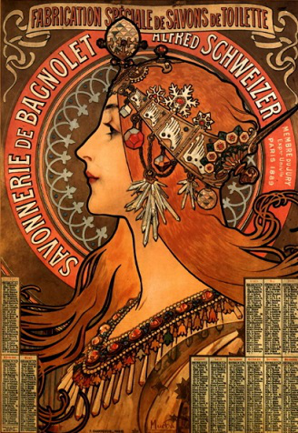 """Poster """"Advertising of Bagnolet soap"""", A. Mucha 