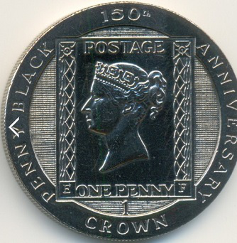 "1 crown coin on the reverse of the ""Black Penny"" stamp, Isle of Man, 1990 