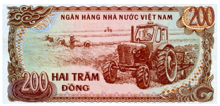 "200 VND banknote with tractor ""Belarus"" on the obverse, Vietnam, 1987 
