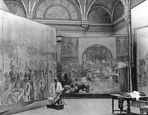 """Alphonse Mucha is working on the """"Slavic Epic"""", 1920