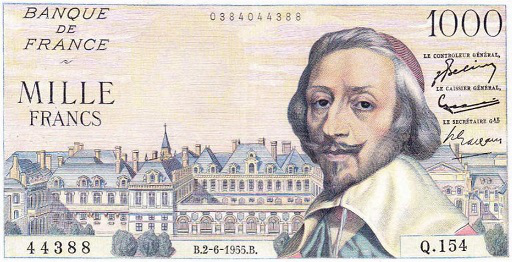 Banknote of 1000 francs from the cardinal Richelieu   Hobby Keeper Articles